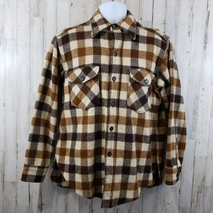 Woolrich Mens Thick Flannel Shirt L Brown Plaid